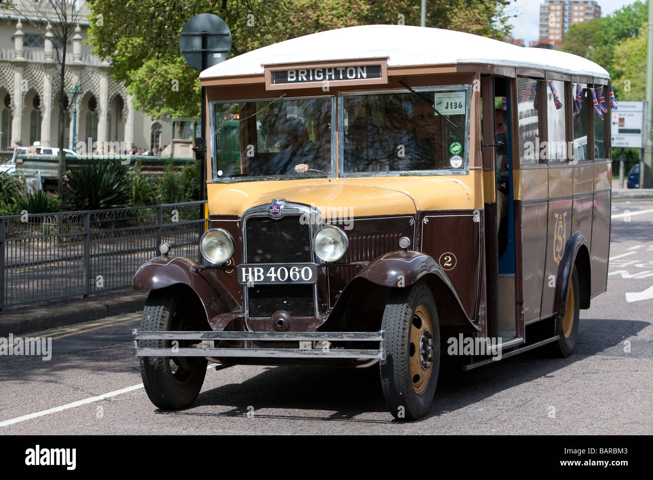 1936 Bedford WLB bus with 20 seat Davis coach body during vintage commercial vehicle rally, Brighton. - Stock Image