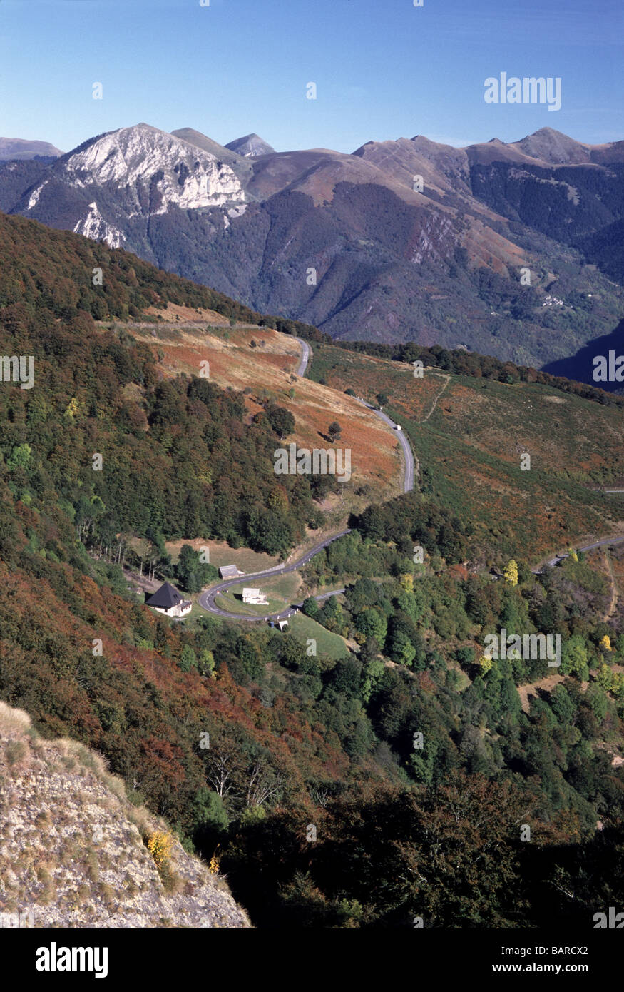 France. Dept.Hautes-Pyrenees.Looking into the Valley d'Aure from the Col d'Aspin 1489m. Stock Photo