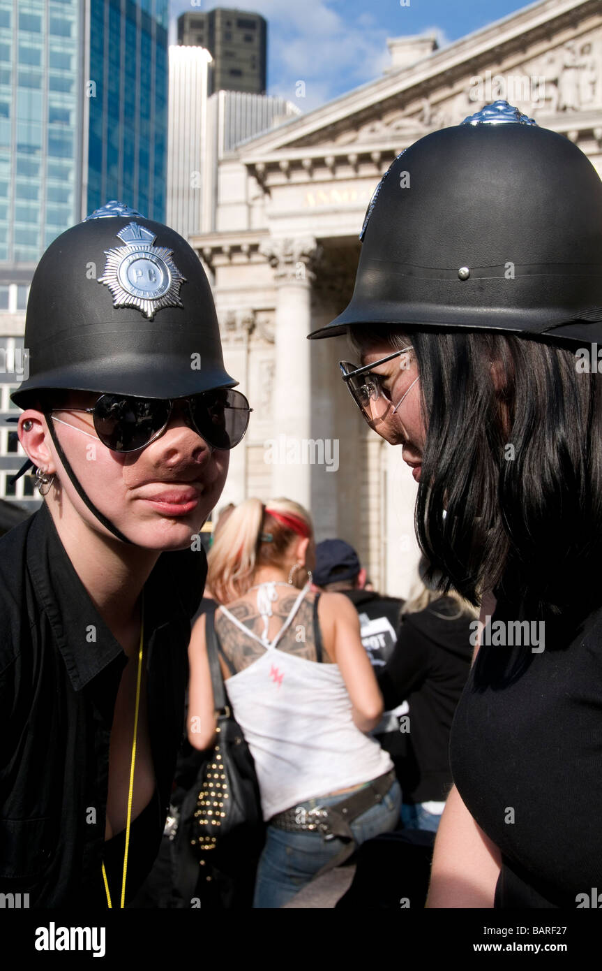 Space Hijackers MayDay protest at Bank against police violence - Stock Image