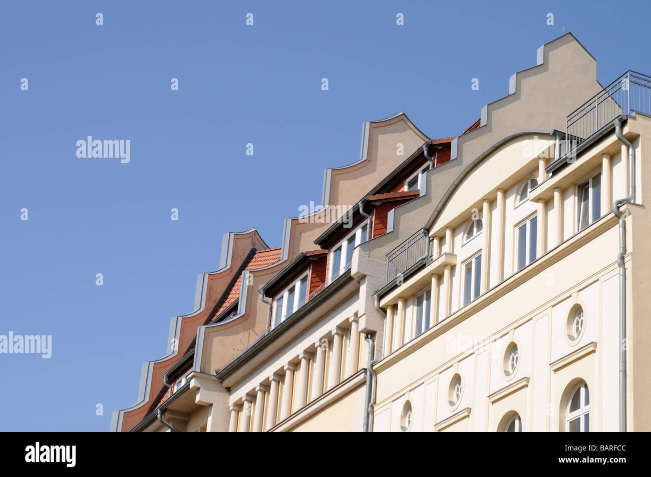 Giebel von Gebäuden in Schwerin Deutschland Gables of buildings in Schwerin Germany - Stock Image