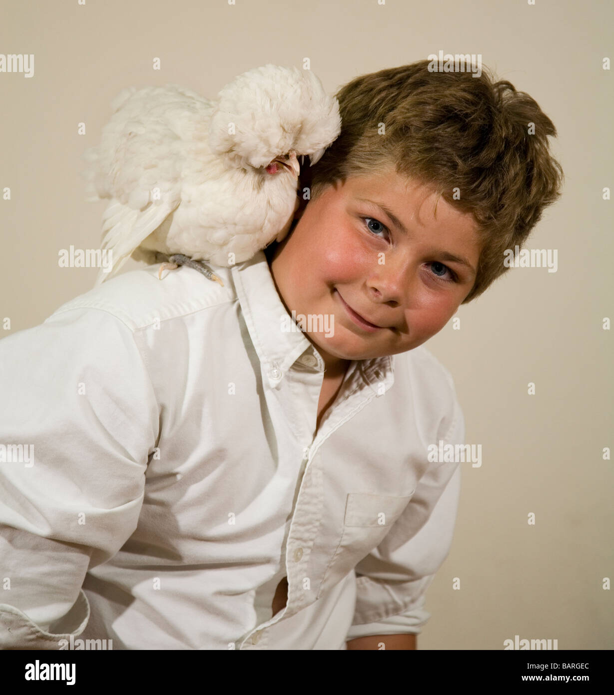 A boy and his chicken in 4 H at a county fair white silkie chicken