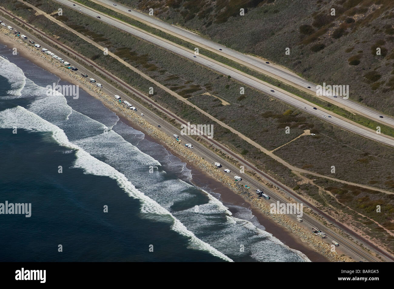 aerial view above many motorhomes parked along pacific coast highway one California - Stock Image