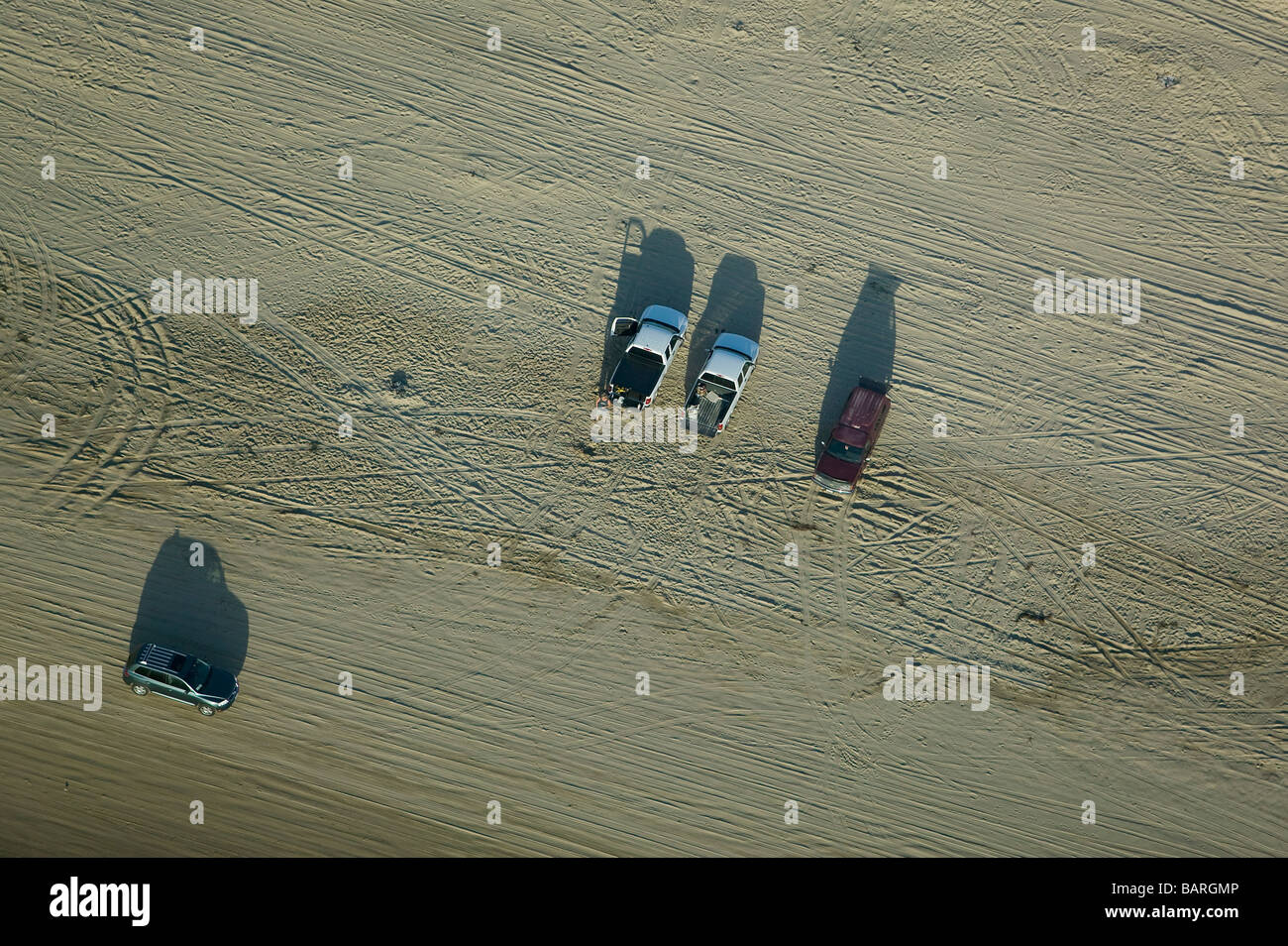 aerial view above cars parked driving Pismo beach near Oceano Santa Maria county central California - Stock Image