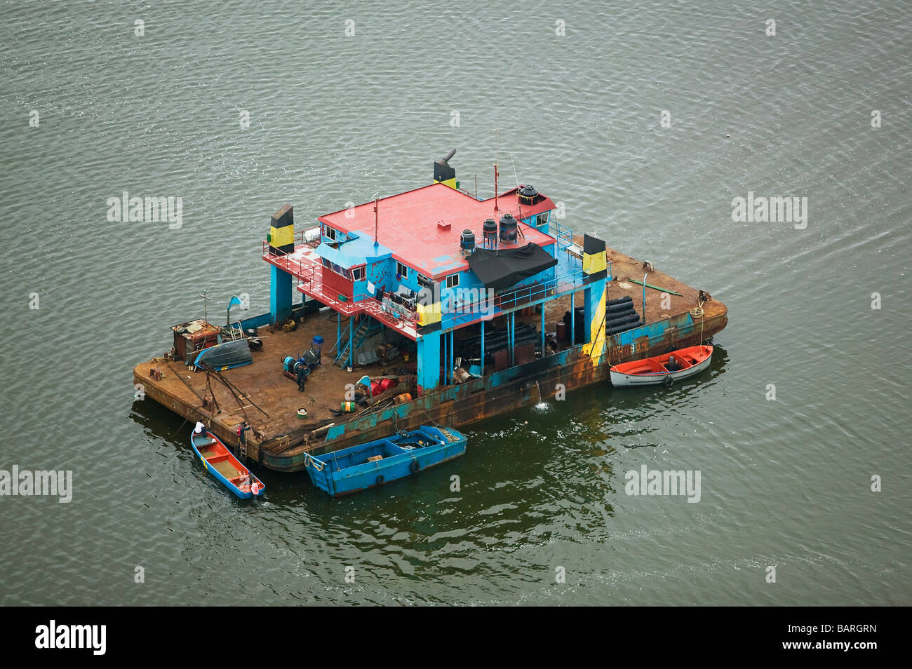 aerial view above Mexican fishing house boat state of Tamaulipas - Stock Image