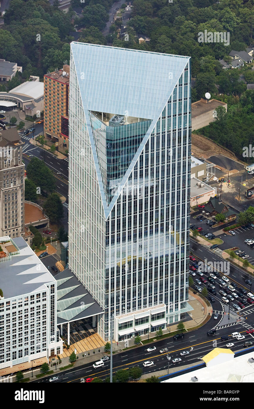 aerial view above Terminus 100 office tower Peachtree & Piedmont Atlanta Georgia - Stock Image