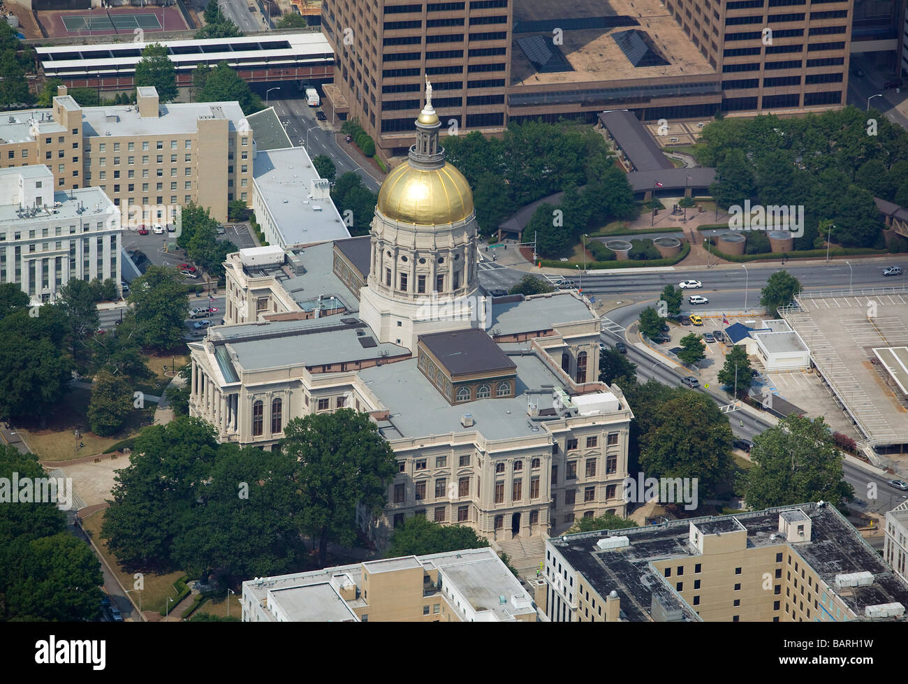 aerial view above Atlanta Georgia state capitol building - Stock Image
