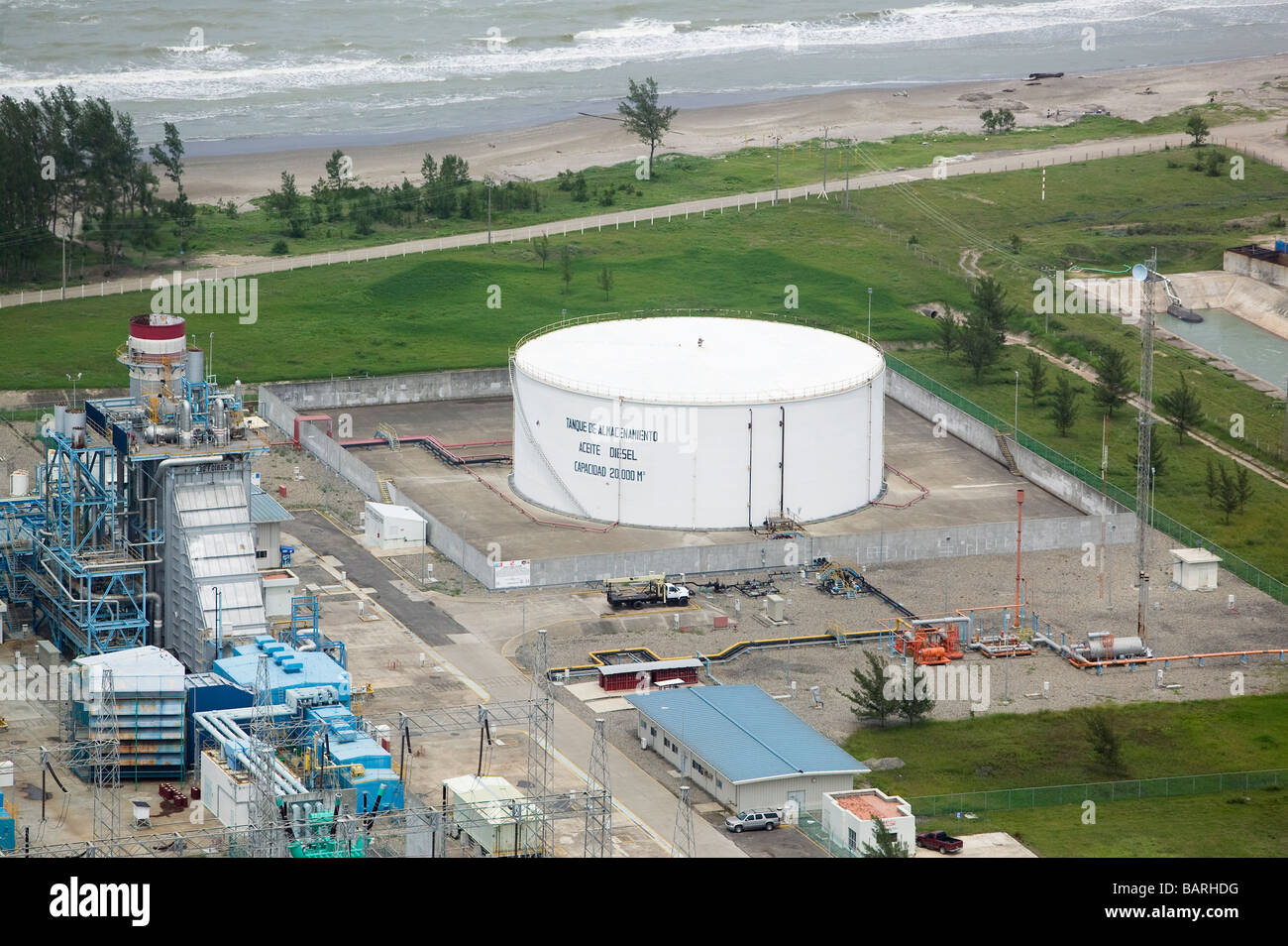 aerial view above diesel petroleum holding tank Gulf of Mexico - Stock Image