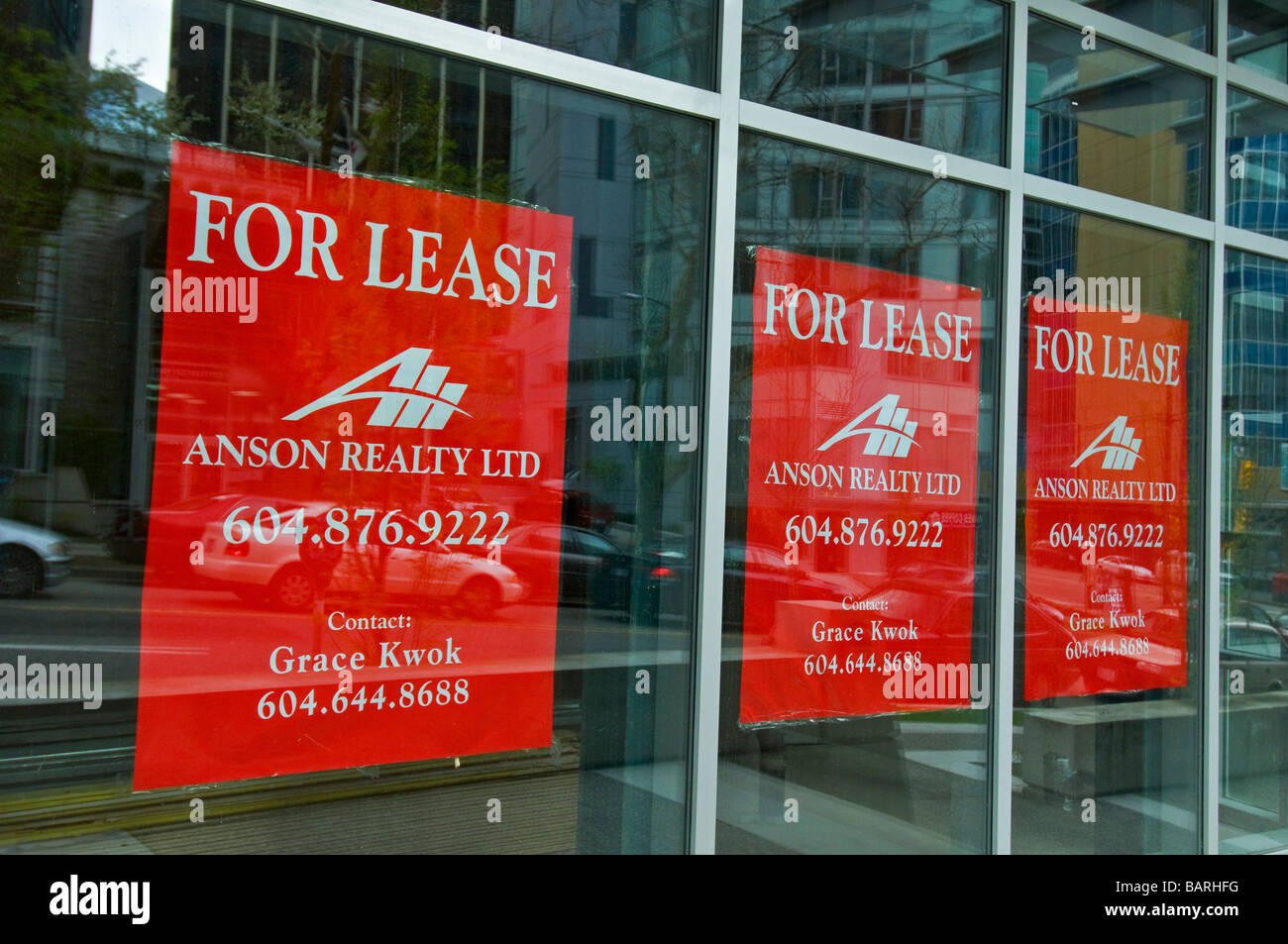 Empty stores for lease downtown Vancouver Stock Photo