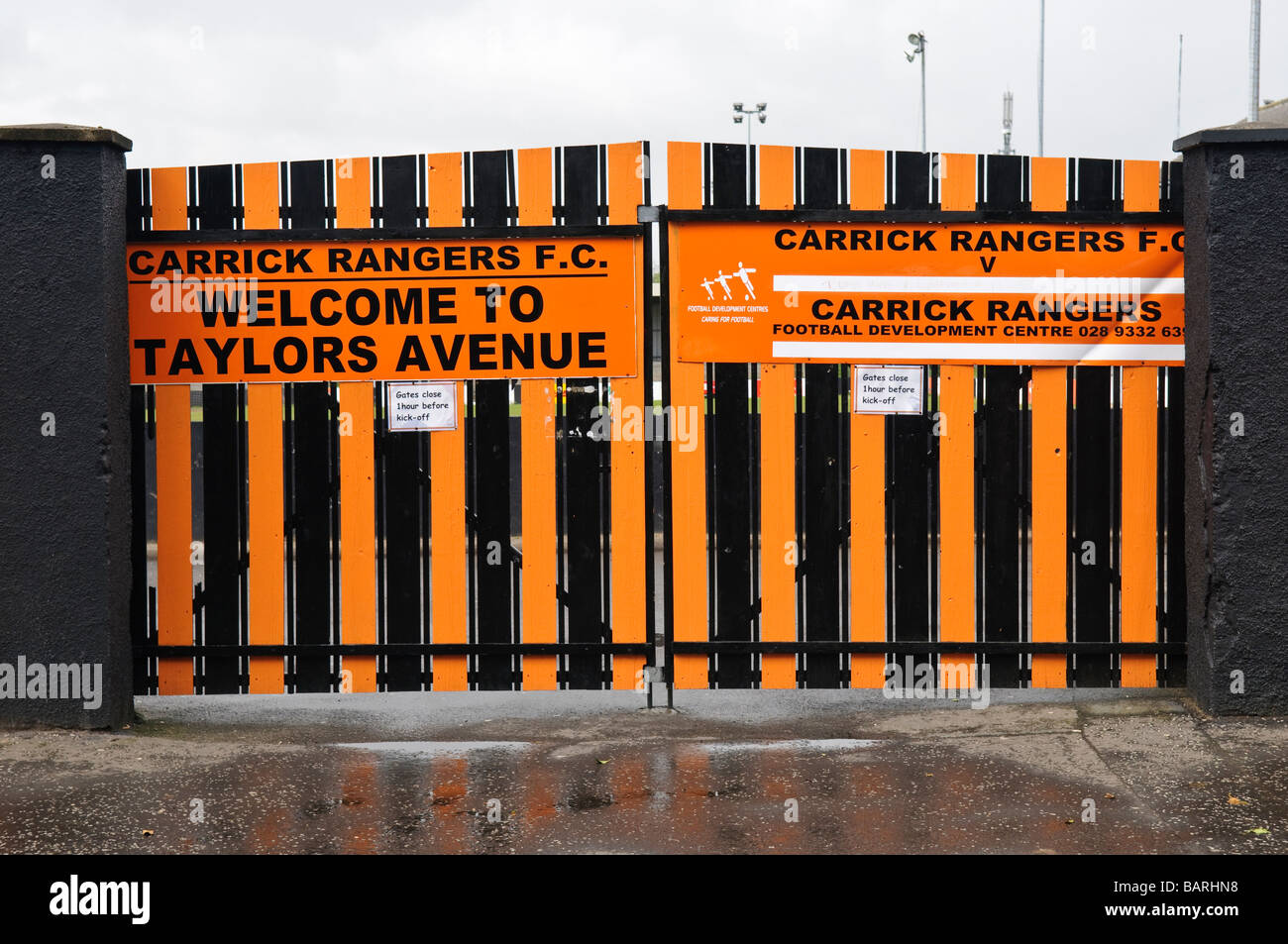Front gates to Taylor's Avenue, home ground of Carrick Rangers football (soccer) team. Stock Photo