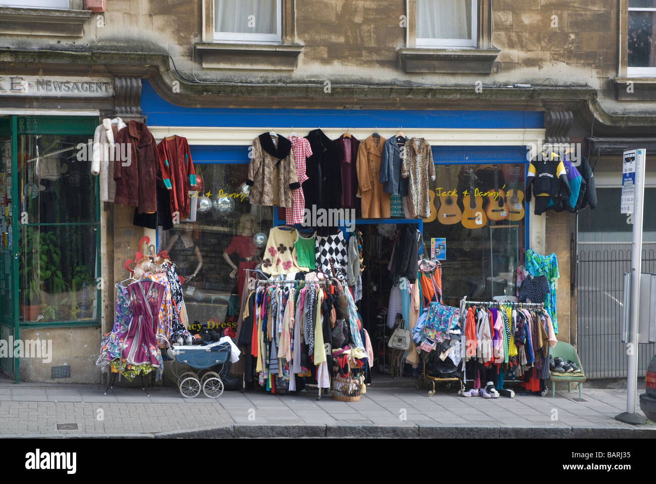 Secondhand clothes shop, 'Walcot Street' 'Bath Spa' Somerset UK - Stock Image