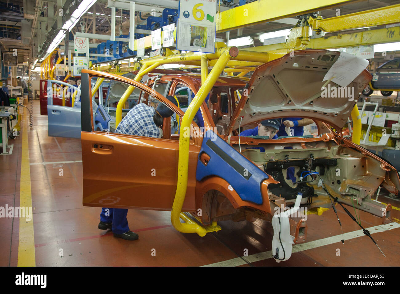 Fiat Panda and Fiat 500 production line in factory, Tychy, Poland - Stock Image