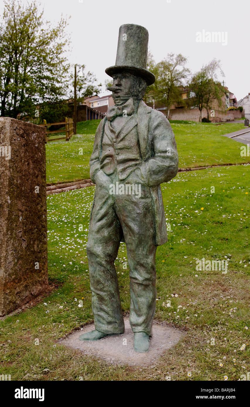 the statue of Isambard Kingdom Brunel at the foot of the tamar bridge in saltash,cornwall,uk - Stock Image