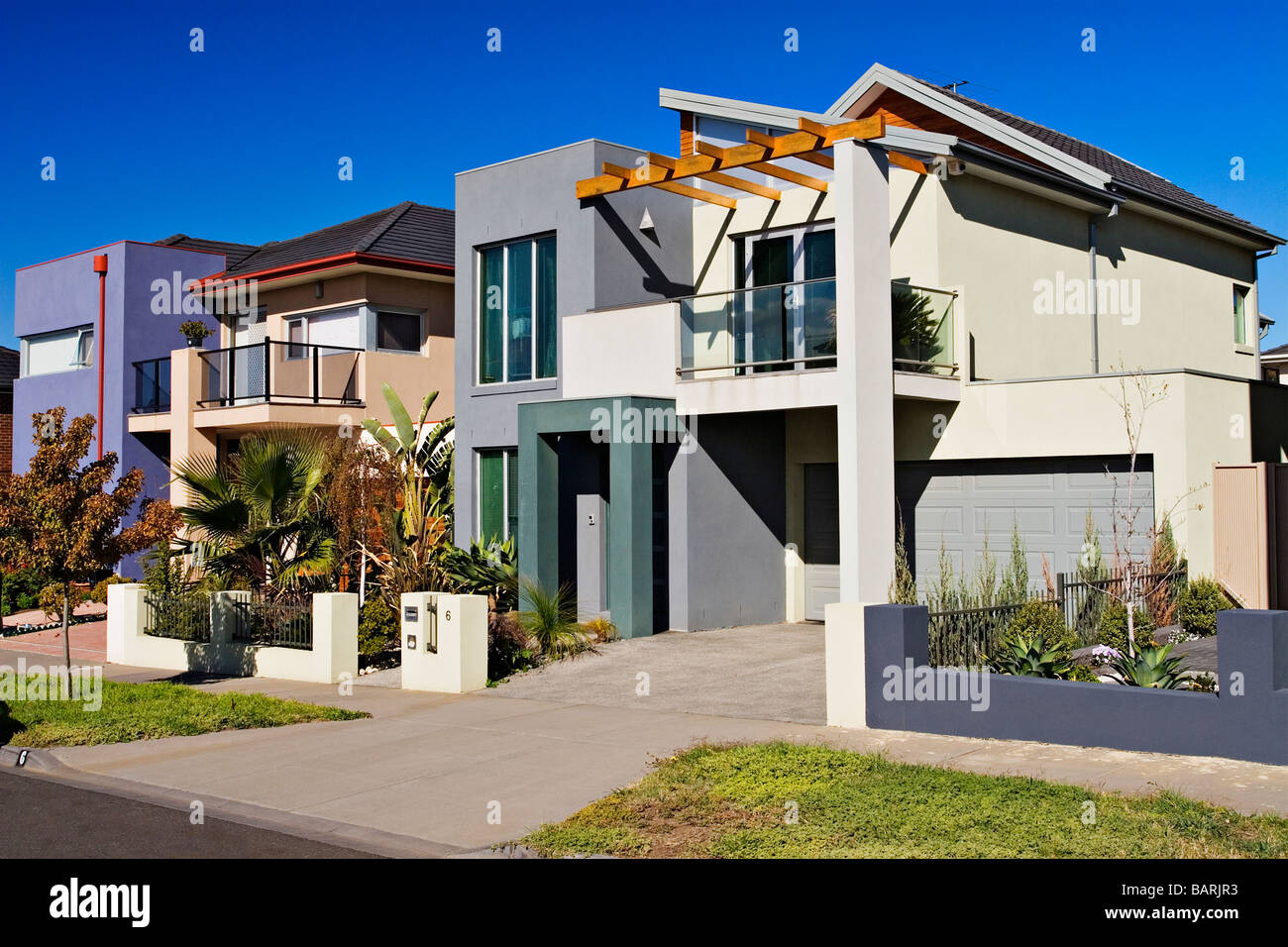 Housing Industry / New contemporary residential houses.Melbourne Victoria Australia. Stock Photo