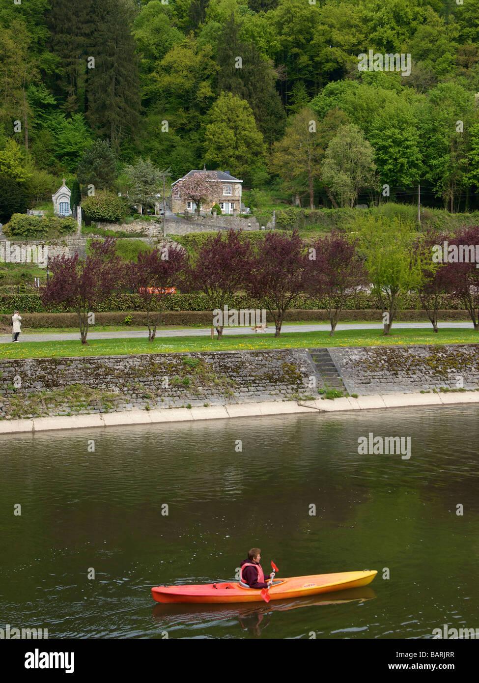 Kayaking on the Ourthe near Durbuy Belgium - Stock Image