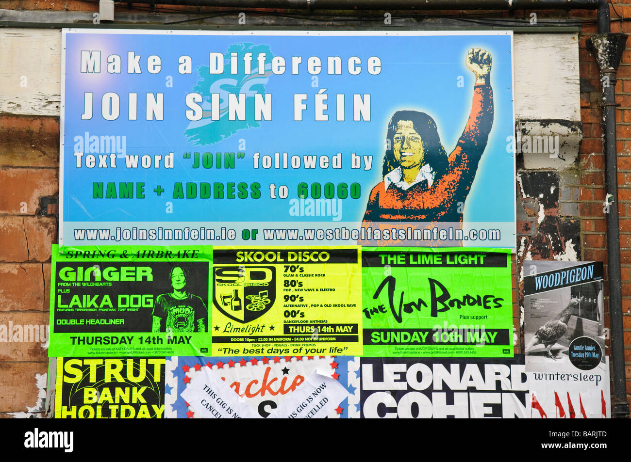 Recruitment poster for Sinn Féin above fly posters - Stock Image