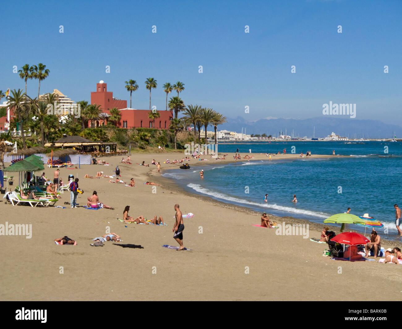 Benalmadena Beach Castillo Bil Bil Costa del Sol Spain - Stock Image