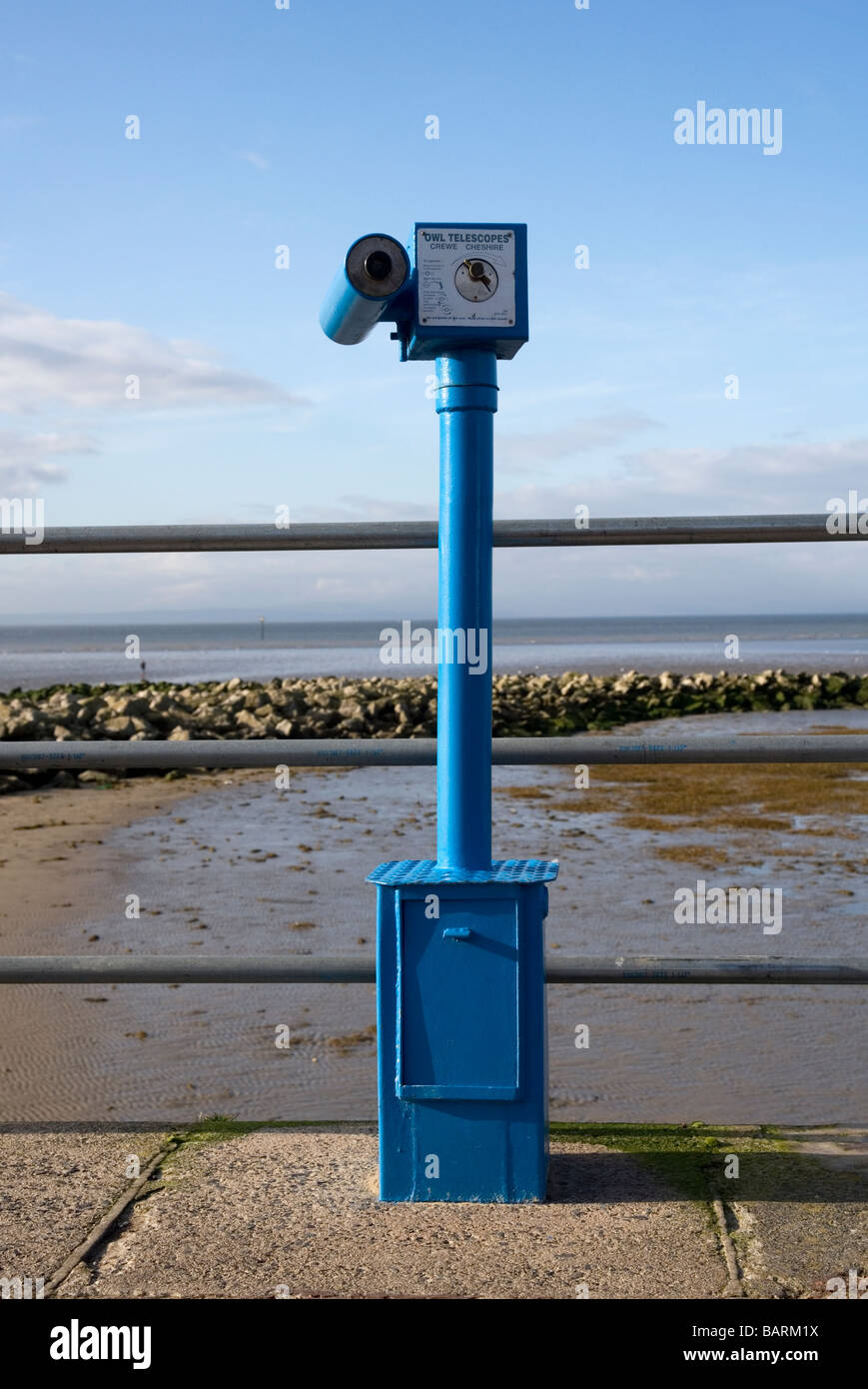 Seaside telescope Morecambe promenade - Stock Image