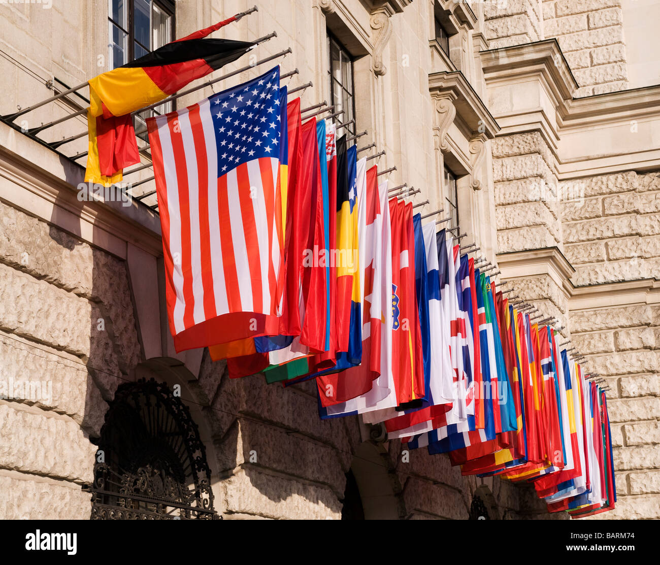 raw of international flags - Stock Image