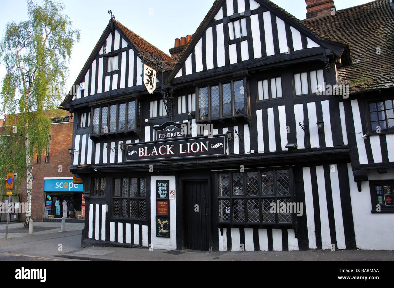 The Black Lion, Bridge Street, Bishop's Stortford, Hertfordshire, England, United Kingdom - Stock Image