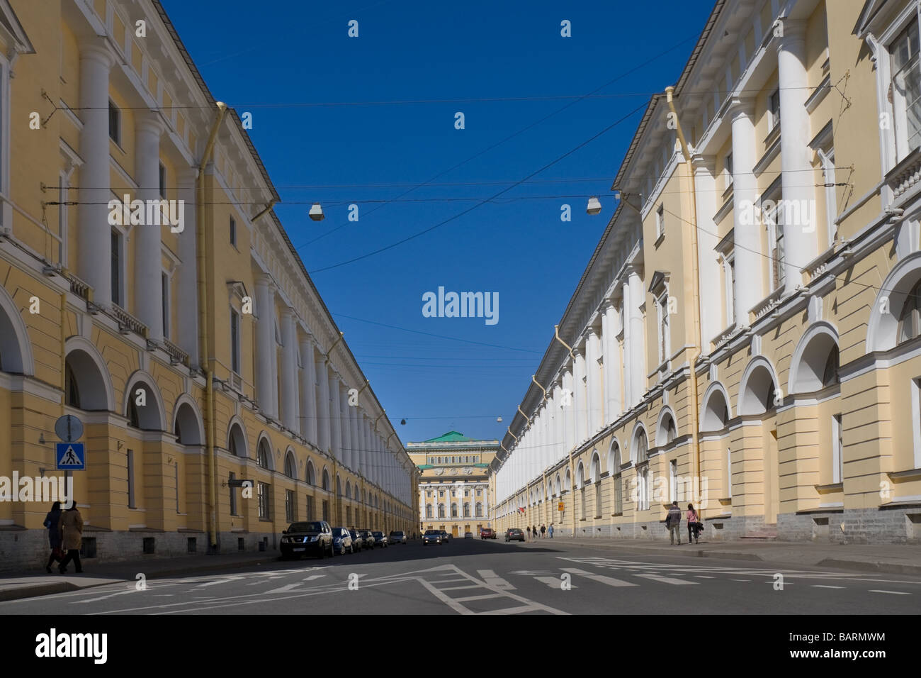 Rossi street St Petersburg Russia The building of Alexandrinsky theater and Ballet school named by Vaganova - Stock Image