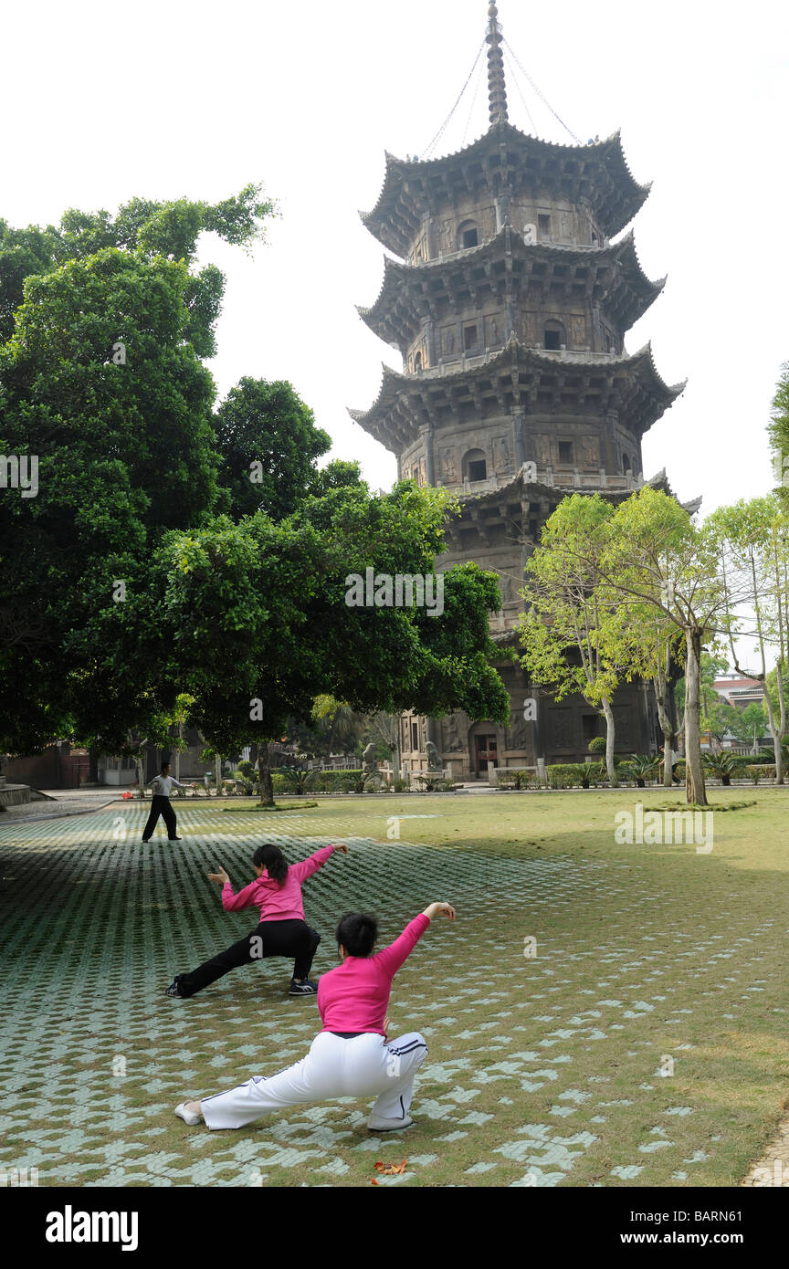 People practice Taiji in early morning at Kaiyuan Si Temple in Quanzhou, Fujian, China. 14-Apr-2009 - Stock Image