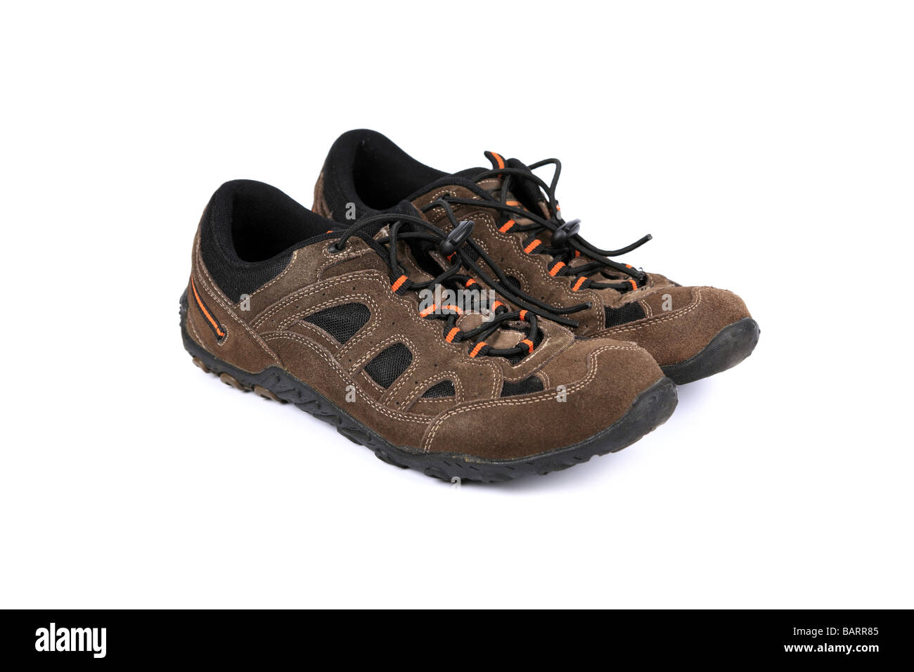 Brown suede sneakers or running shoes or Trainers Stock Photo