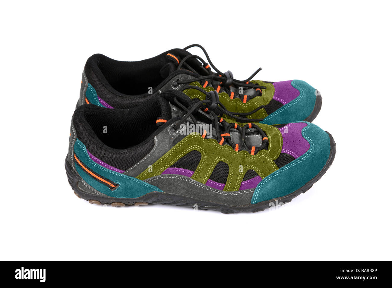 Multi coloured sneakers or running shoes or Trainers Stock Photo