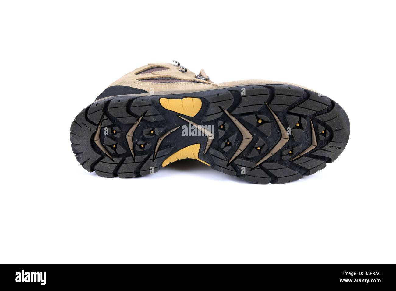 Bottom tread of a Man s tan suede Walking boot - Stock Image