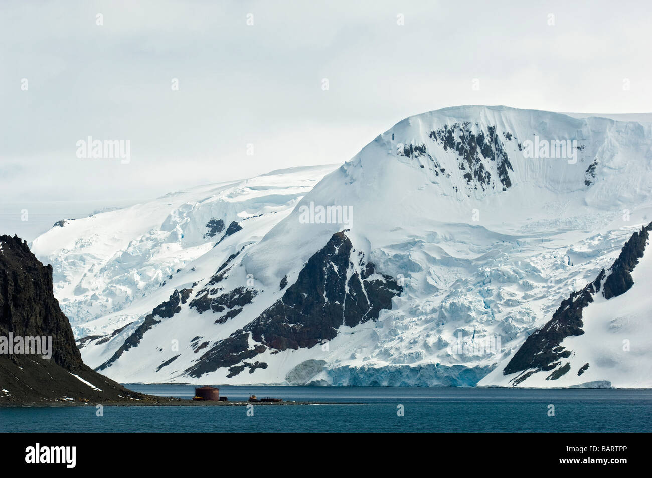 Admiralty Bay surrounded by Mountains and Glaciers. King George Island, South Shetland Islands, Antarctica. Stock Photo