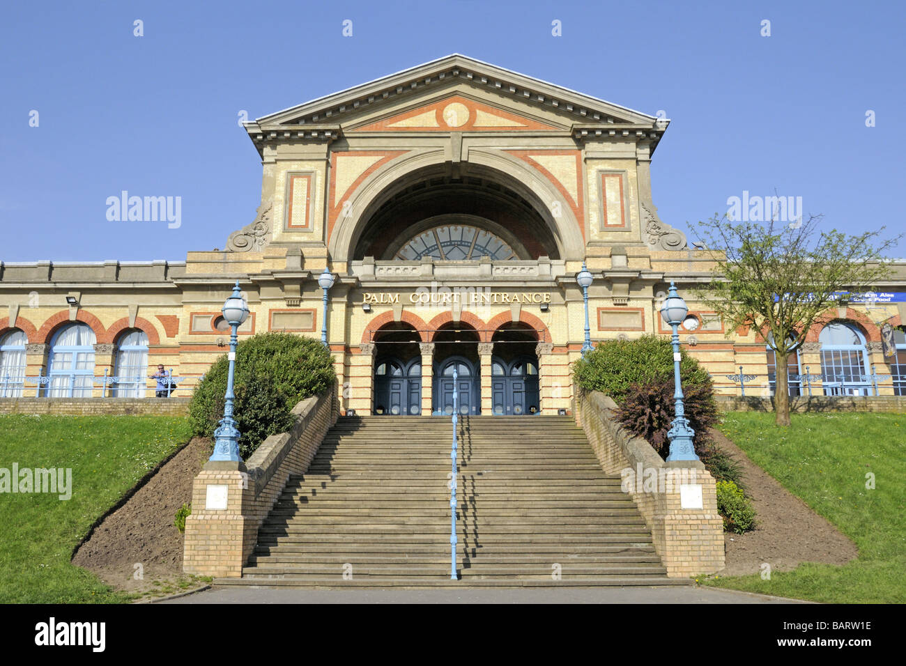 Alexandra Palace Palm Court Entrance London England UK - Stock Image