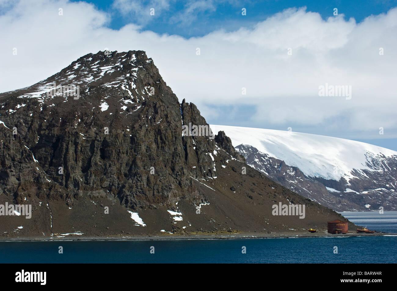 Mountain Towers above Arctowski Station. Admiralty Bay, King George Island, South Shetland Islands, Antarctica. Stock Photo