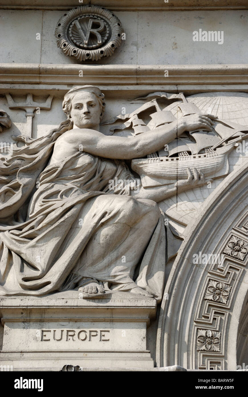 Sculpture representing the continent Europe on exterior of the old Foreign and Colonial Office in Whitehall London - Stock Image