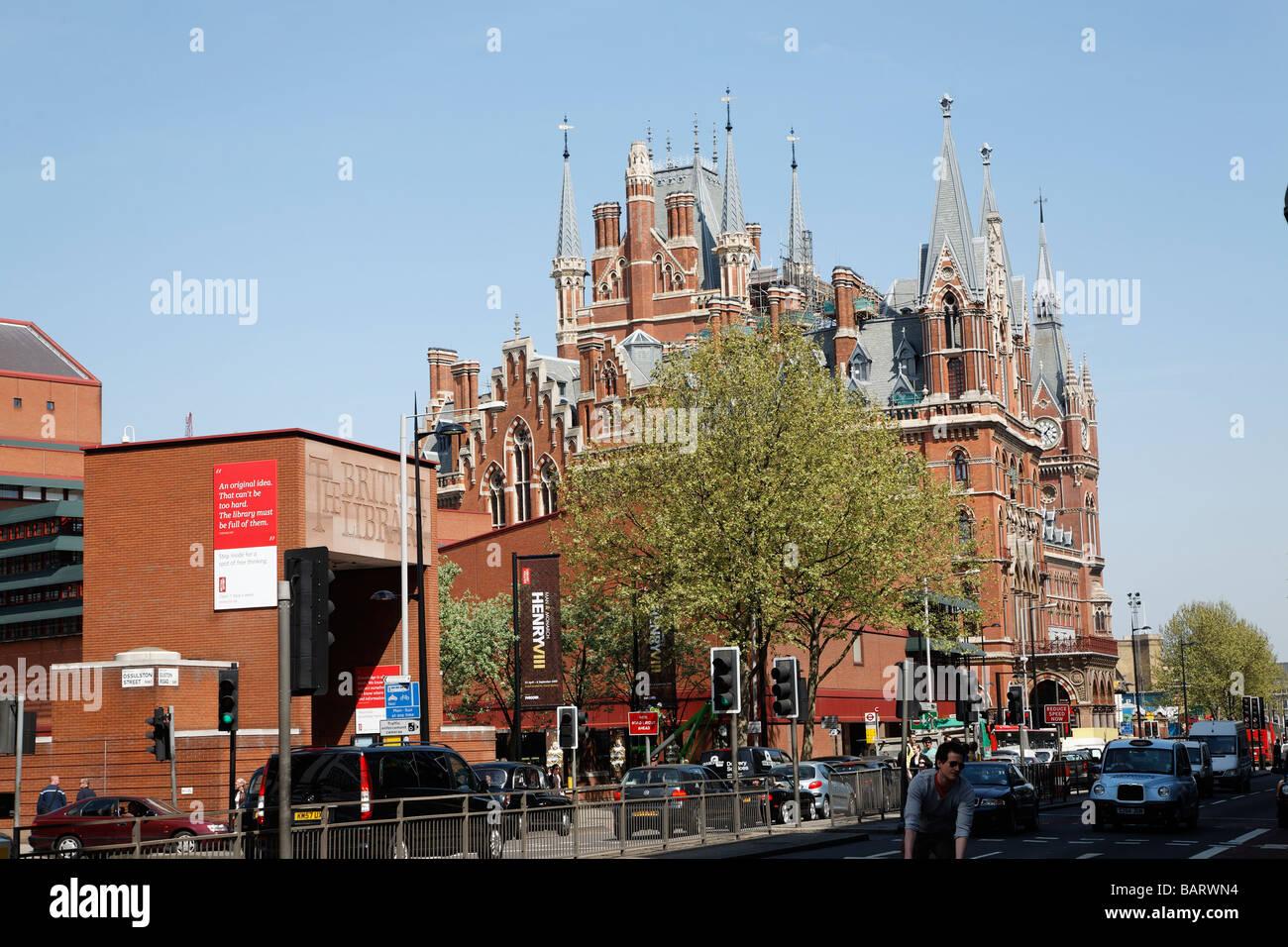 St Pancras station, Euston Road, London, England - Stock Image