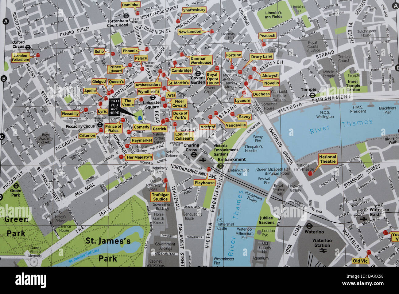 Map Of West End Of London.Map Of West End Theatres London England Stock Photo