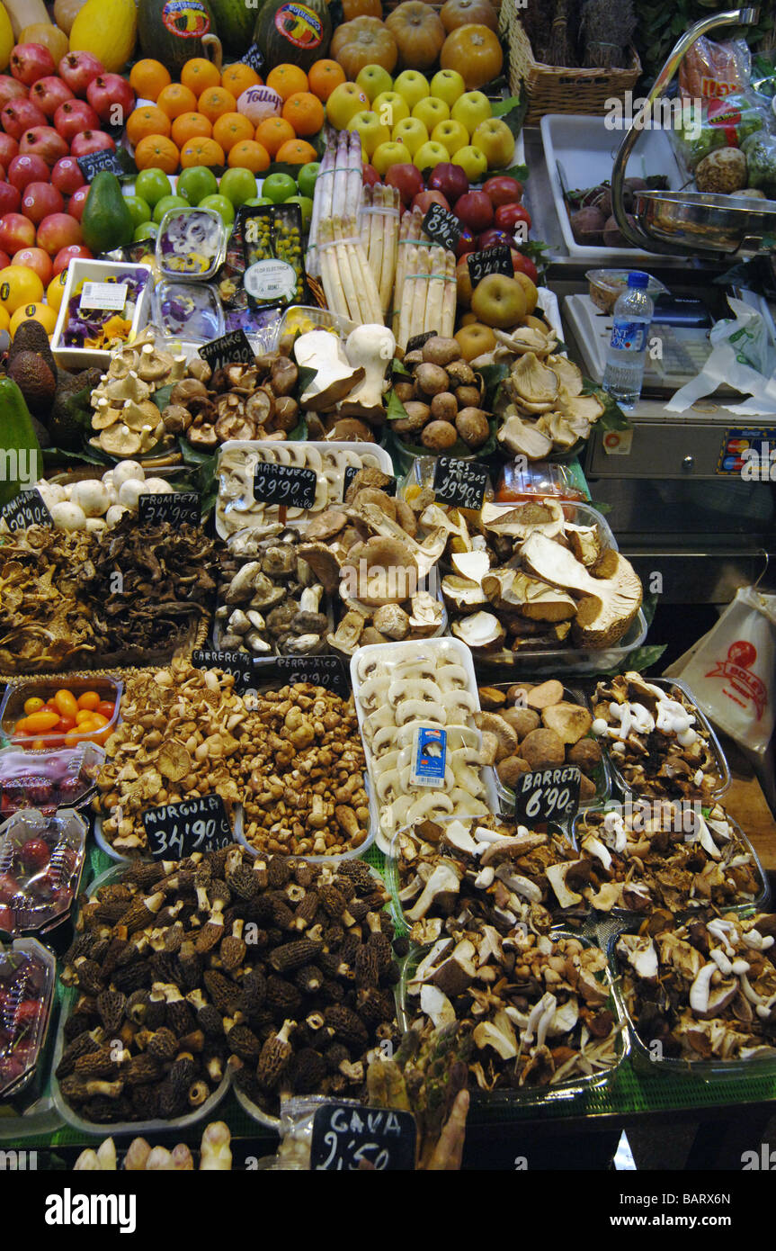 Fresh mushrooms in a fruit and vegetable stand in the boqueria market in Barcelona, Spain - Stock Image