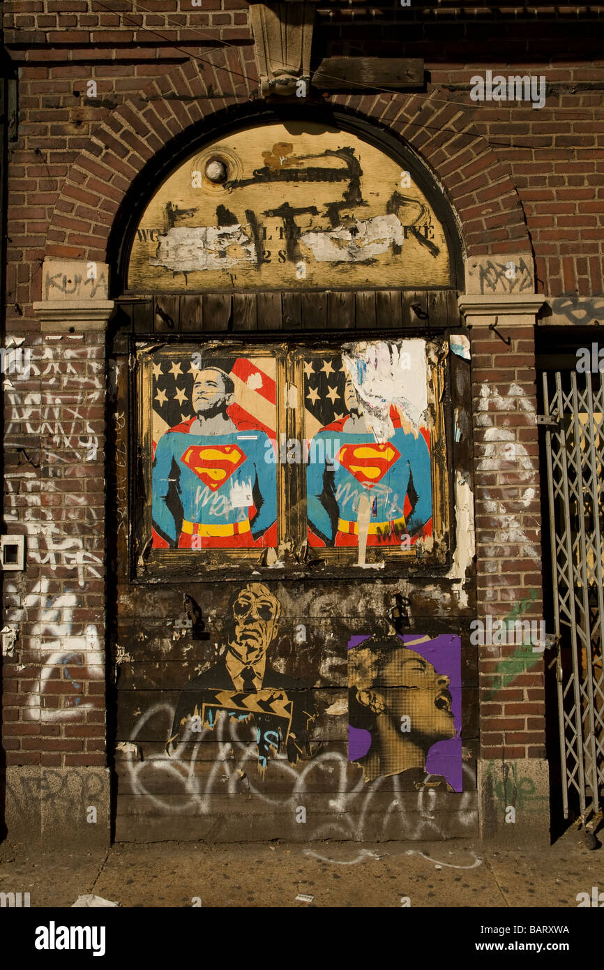 Barack Obama as superman on a wall in the East Village in NYC - Stock Image