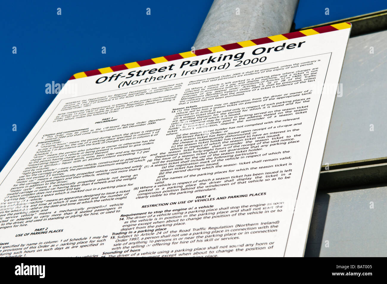 Parking regulations at a car park run by the Department of the Environment for Northern Ireland. - Stock Image