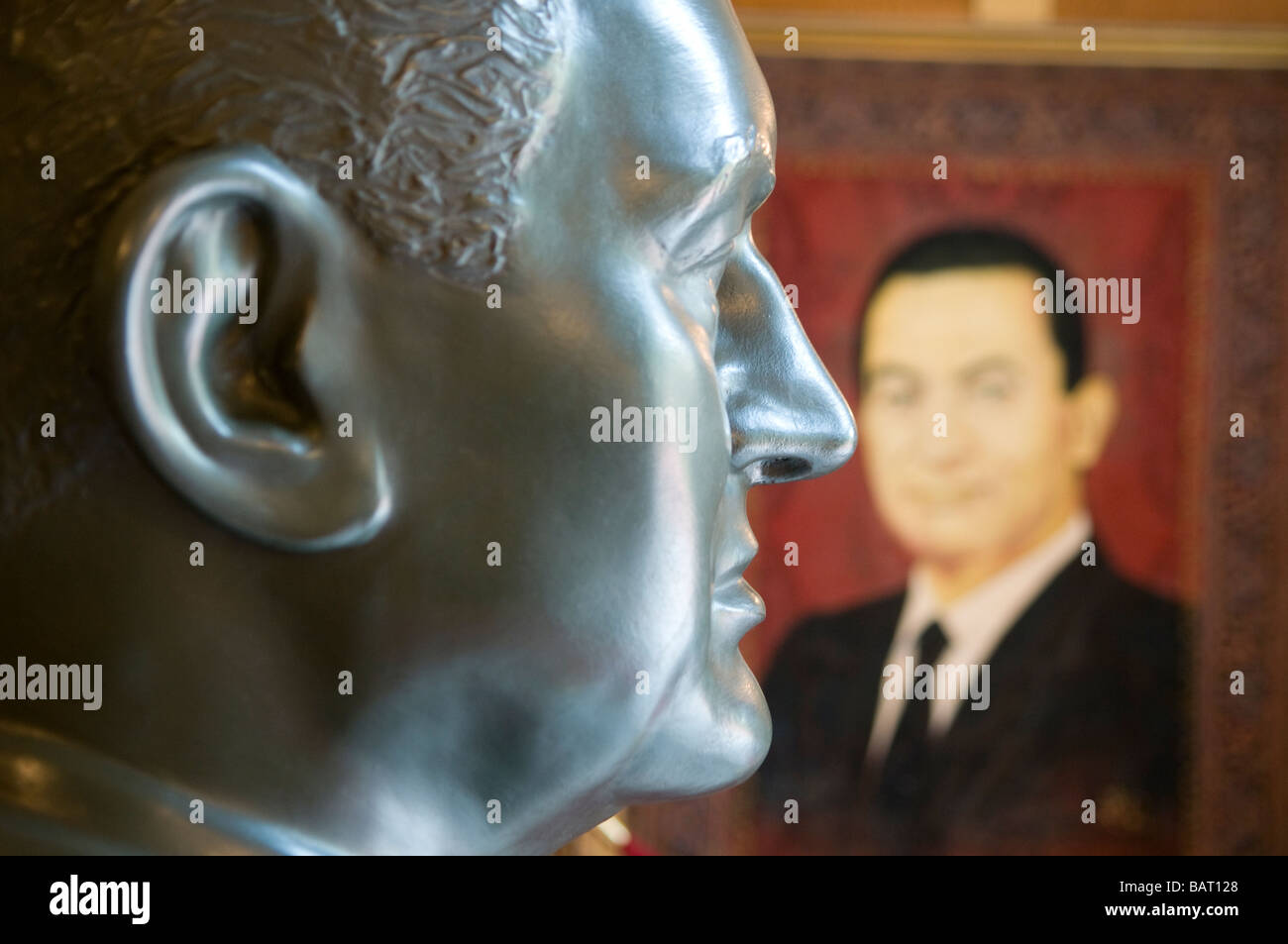 Bust and portrait of Egyptian President Husni Mubarak displayed at the Presidential Gifts Museum in Abdeen Palace, - Stock Image