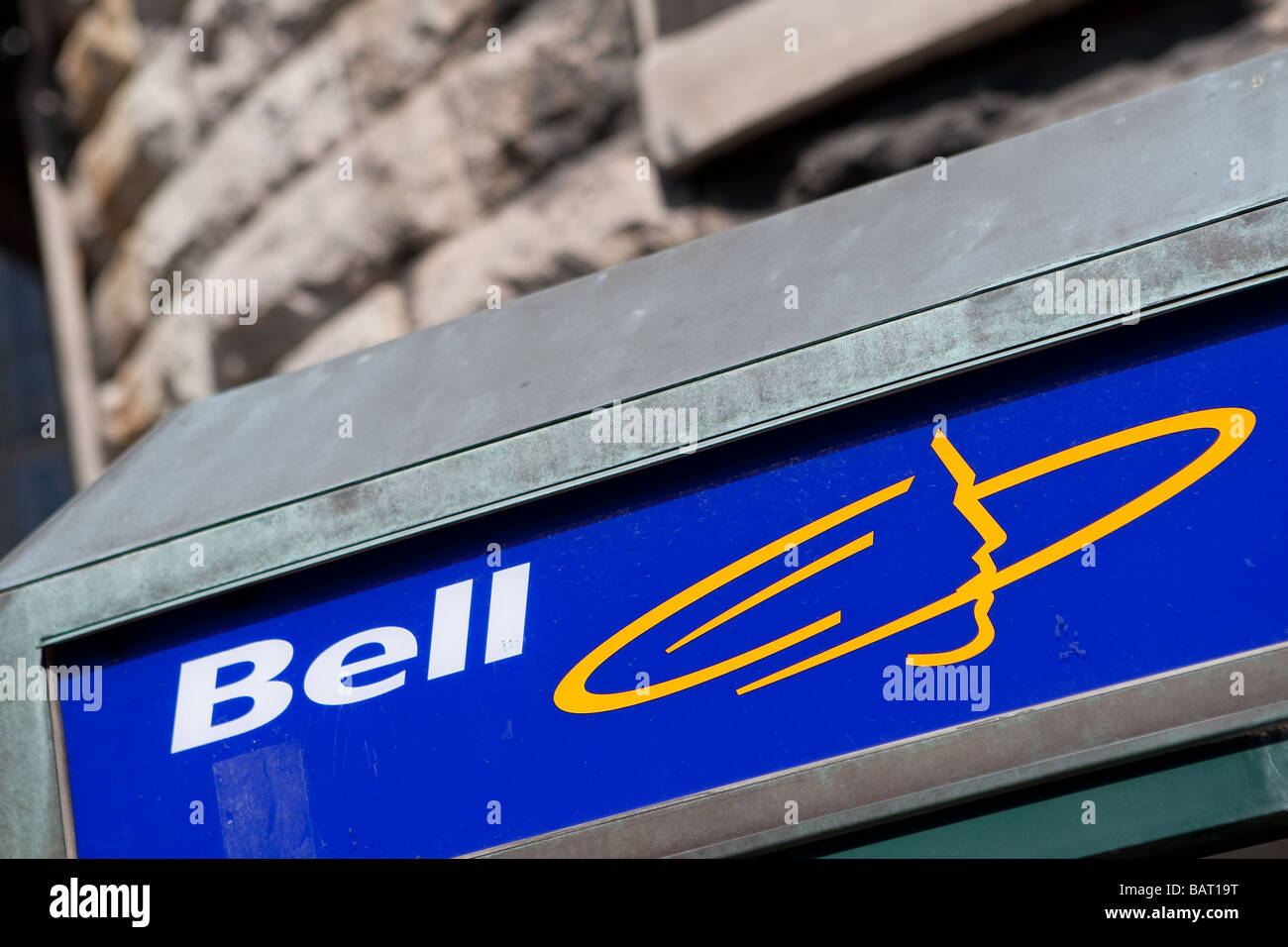 Bell Canada logo is seen on a phone both in Quebec city - Stock Image