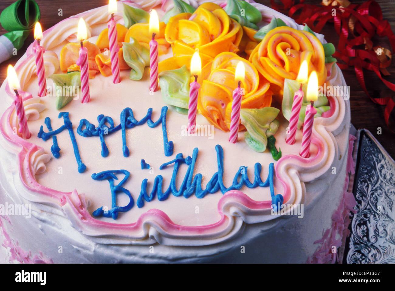Happy Birthday cake with candles Stock Photo 23886583 , Alamy