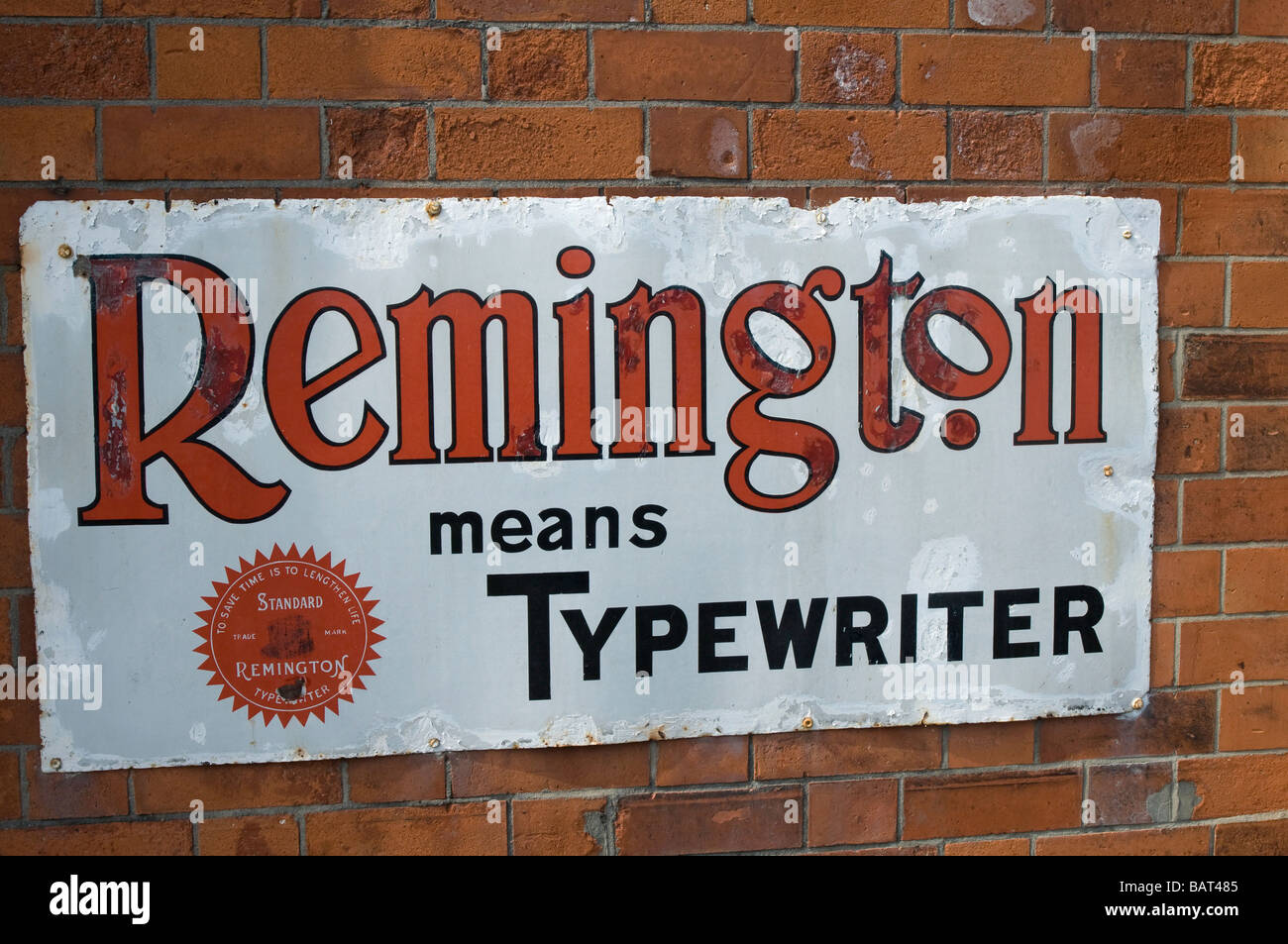 Nostalgic tinplate sign for Remington Typewriters on the platform at the Quorn Railway Station, Leicestershire, - Stock Image