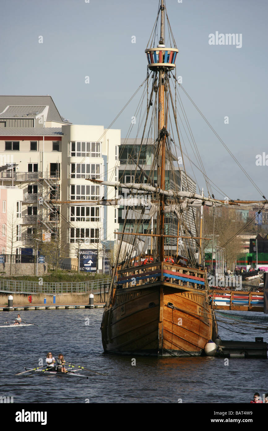 City of Bristol, England. Rowing at Bristol's Floating Harbour with the replica John Cabot ship the Matthew, in - Stock Image