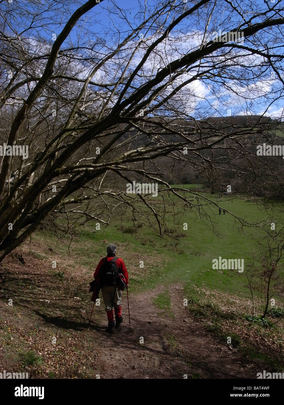 Walker in a Red anorak on the South Wales three peaks challenge walk - Stock Image