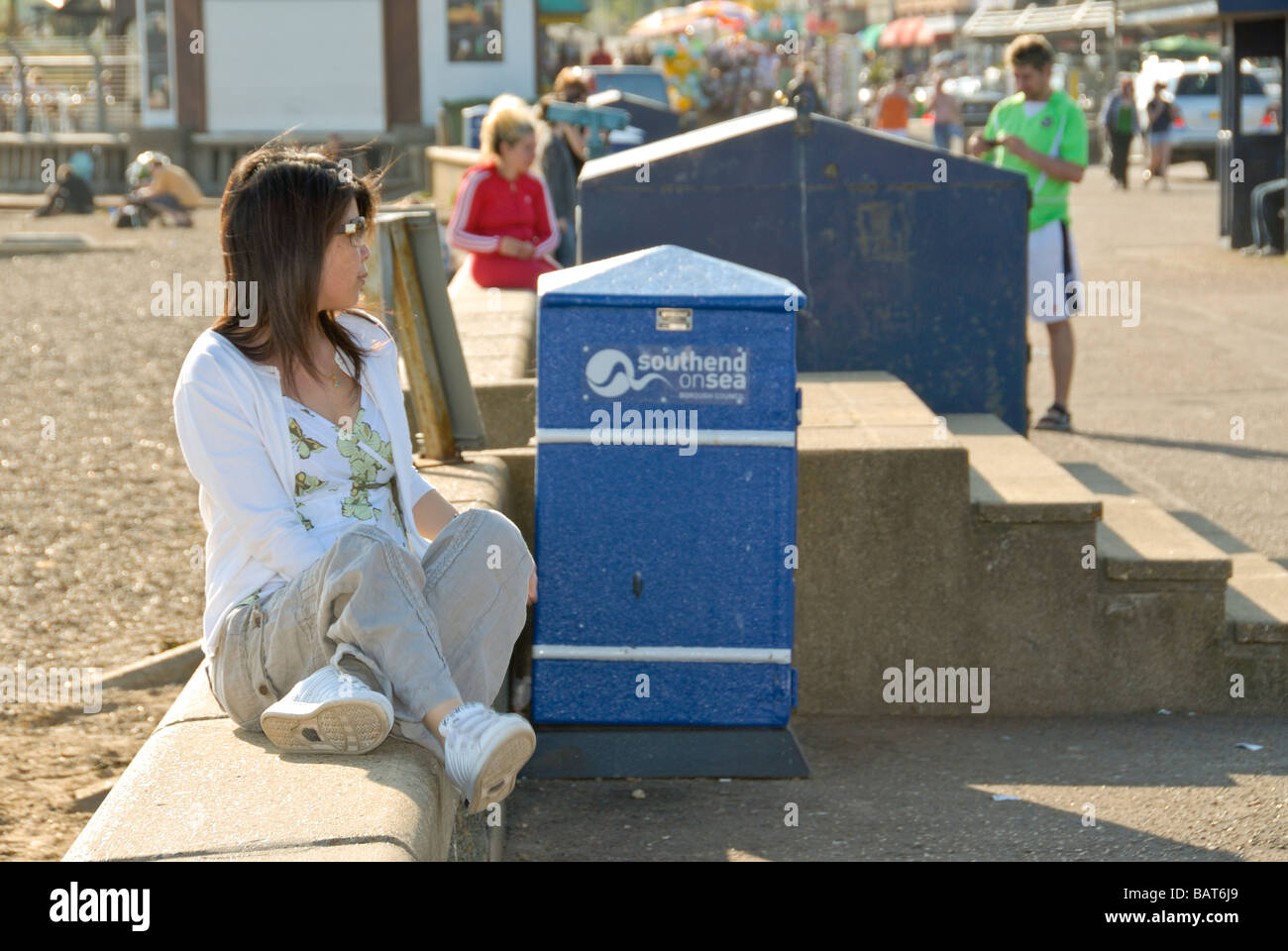 Woman relaxing Southend on Sea Essex England UK Stock Photo