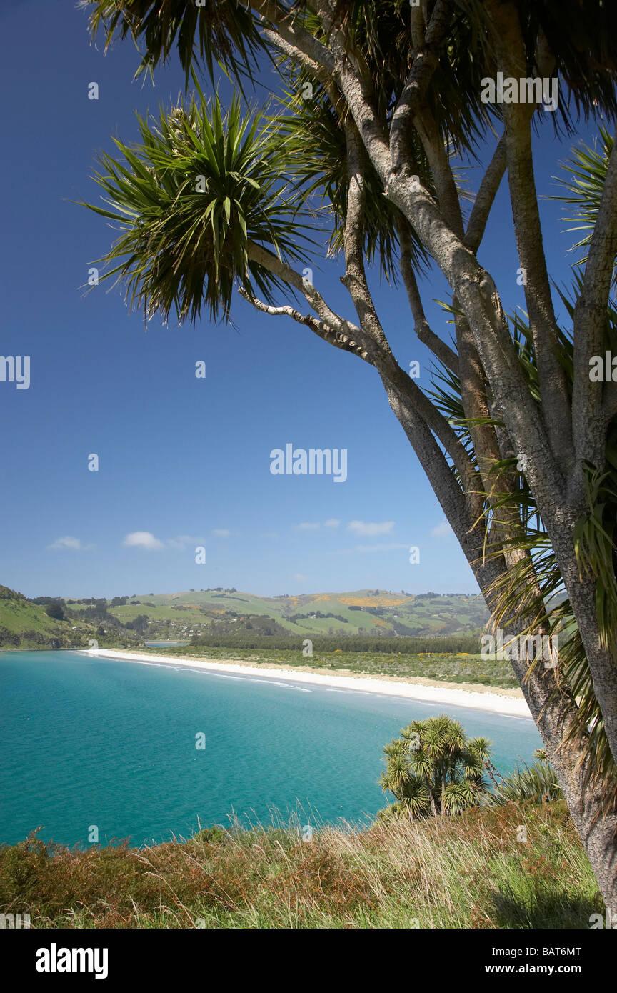 Purakanui Bay seen from Mapoutahi Historic Maori Pa Site north of Dunedin South Island New Zealand Stock Photo