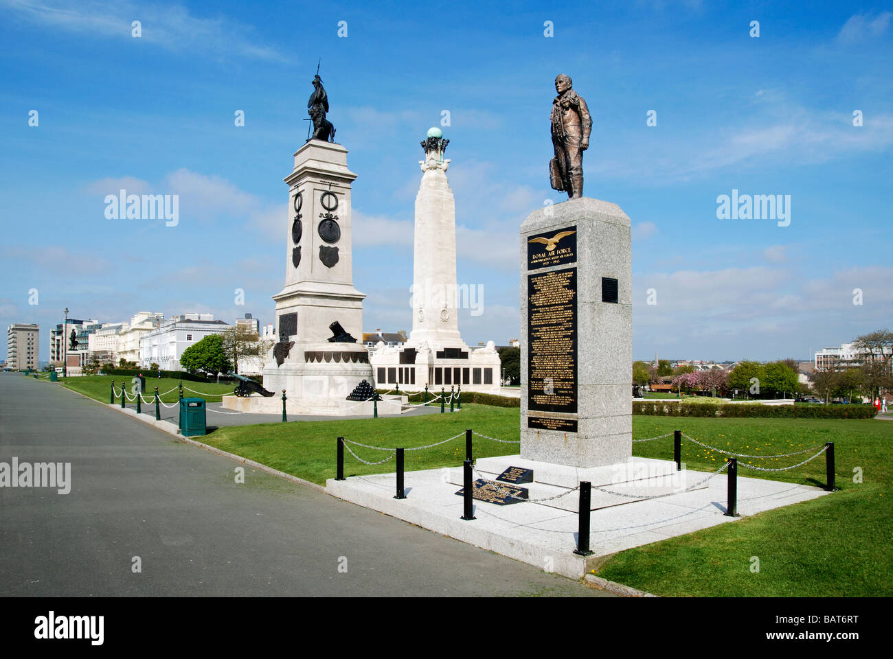 the war memorials on the hoe at plymouth,devon,uk - Stock Image