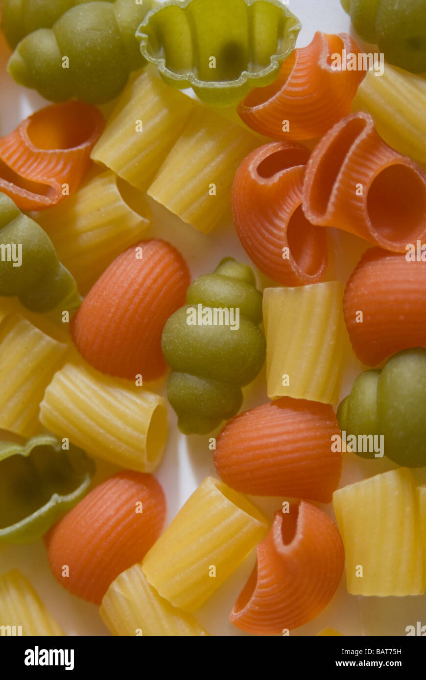 Pasta, colored, various types - Stock Image
