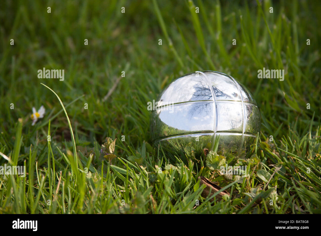Close up of silver metal petanque bowls on grass. - Stock Image