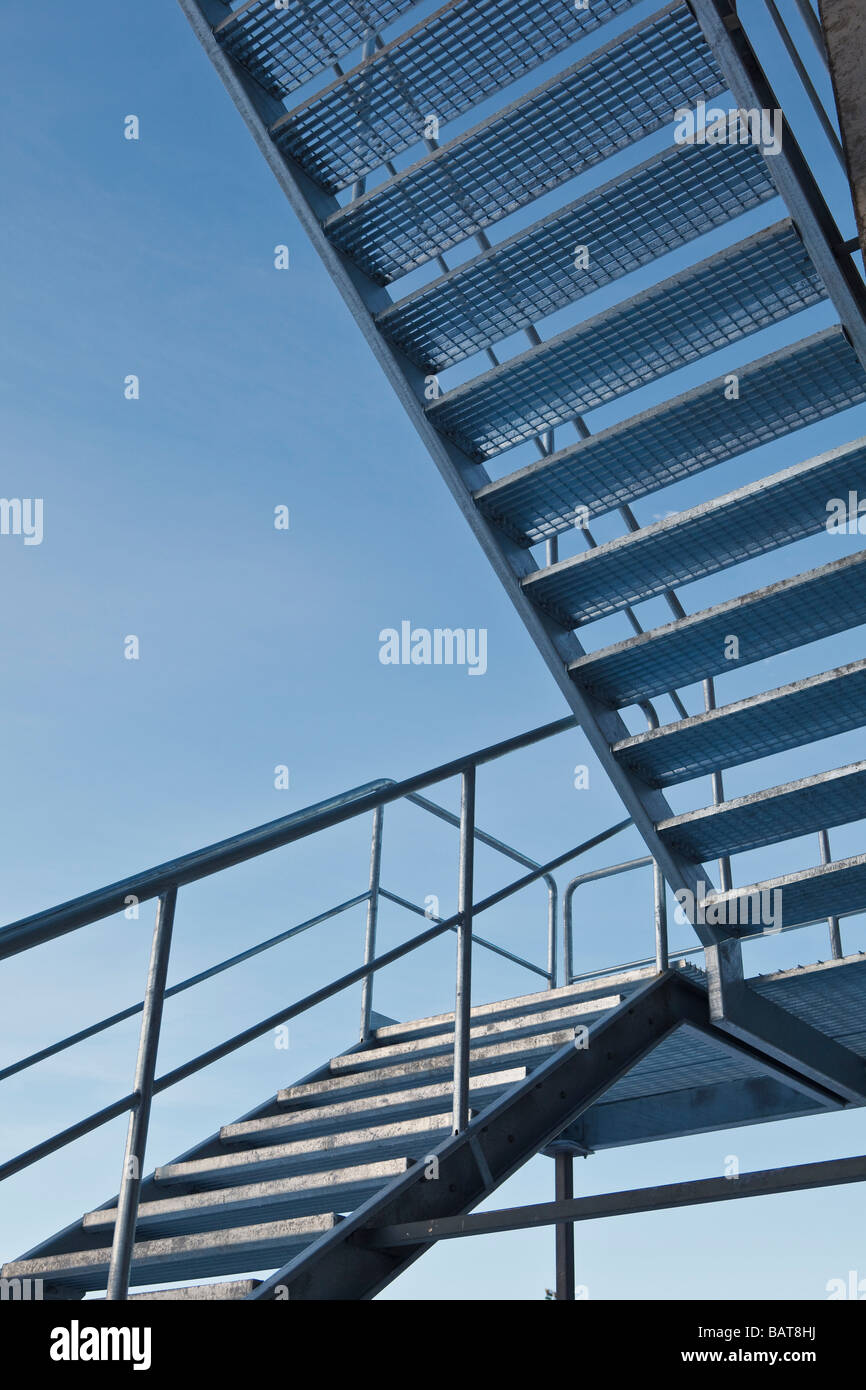 Stairway shot against  blue sky - Stock Image