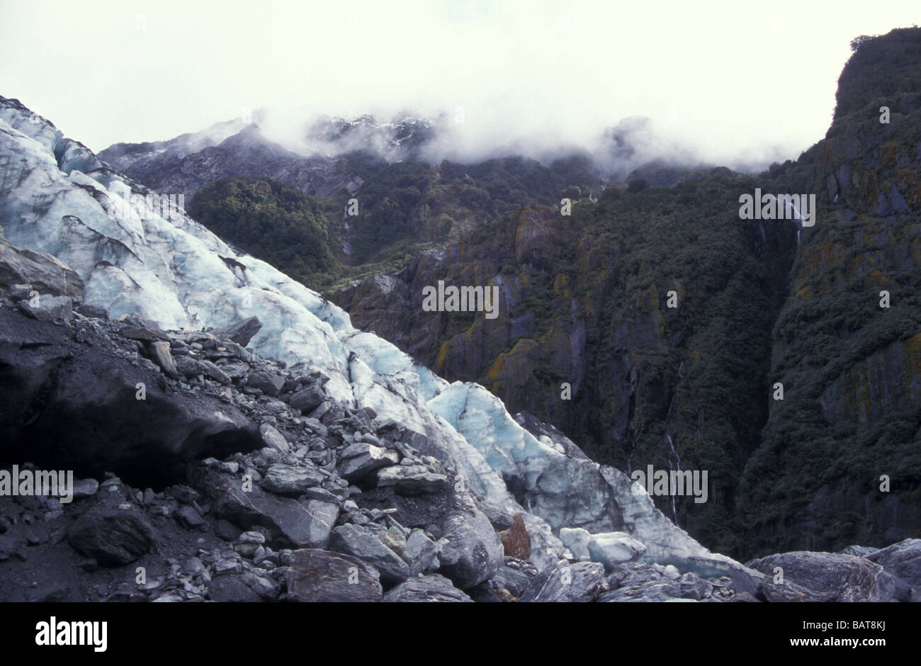 Blue Glacial Ice Terminal Moraine Franz Josef Glacier Westland National Park Southern Alps West Coast South